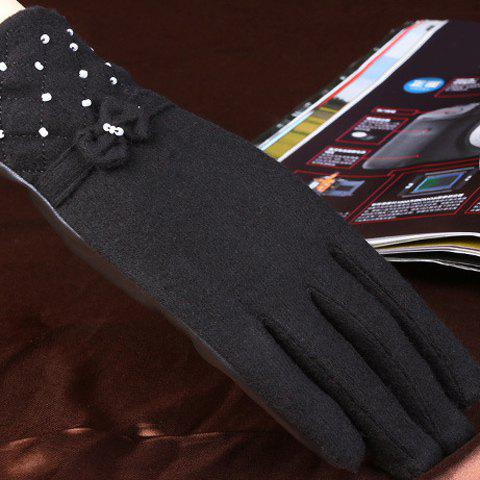 Pair of Chic Small Bow and Bead Embellished PU Matching Women's Gloves - BLACK