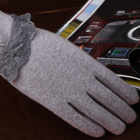 Pair of Chic Small Pompon and Lace Embellished Women's Warmth Gloves - GRAY