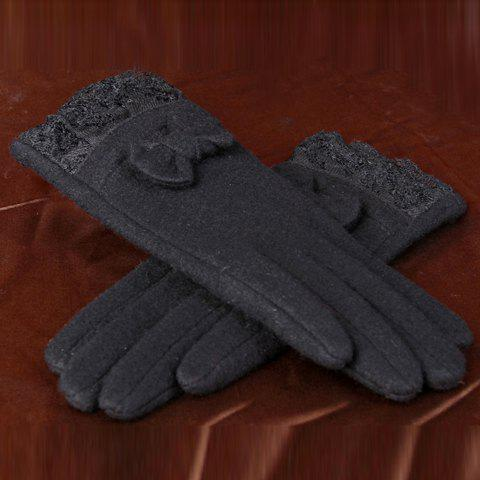 Pair of Chic Small Bow and Lace Embellished Women's Warmth Gloves - BLACK
