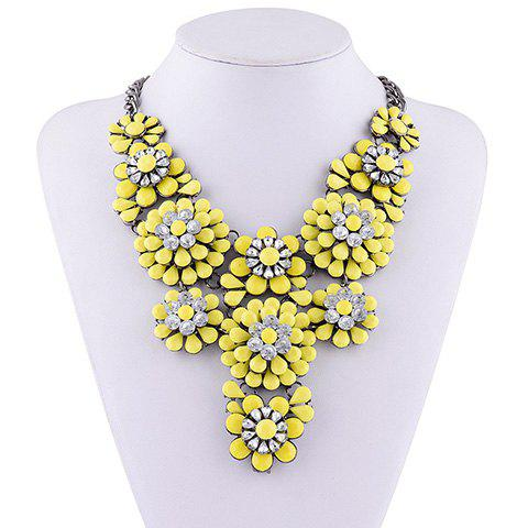 Rhinestone Water Drop Floral Layered Necklace - YELLOW