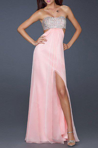 Sexy Sleeveless Strapless Hollow Out High Slit Sequined Women's Dress - PINK S