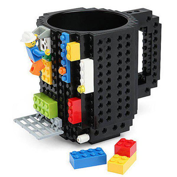 Cool Brick DIY Composing Mark Mug 300ml Coffee Cup - BLACK