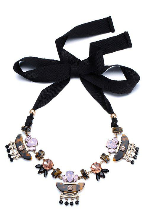 Chic Rhinestone Inlay Jewelry Sweater Chain For Women - BLACK