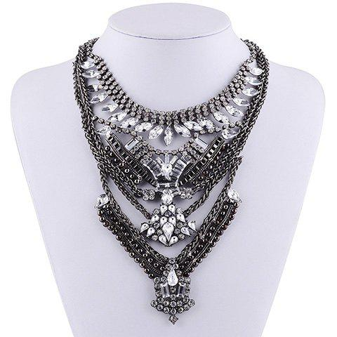 Layered Geometric Rhinestone Necklace - SILVER GRAY