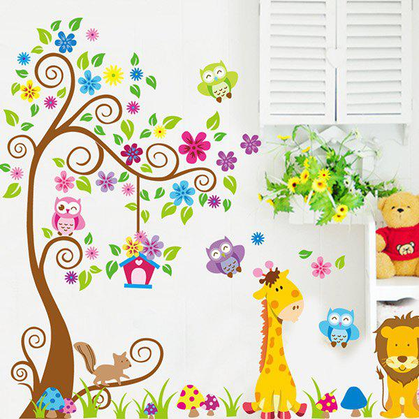 Good Quality Colorful Cartoon Animal Pattern Removeable Decorative Wall Sticker - COLORMIX