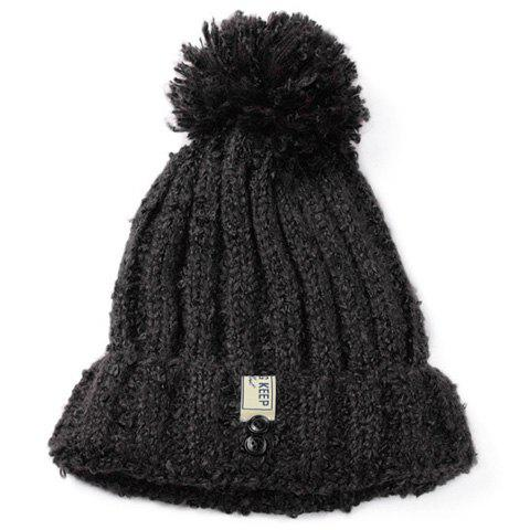 Fashionable Buttons Decorated Flanging Women's Knitted Beanie - BLACK