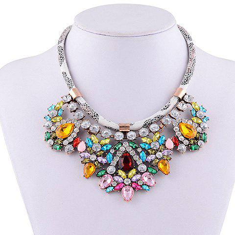 Rhinestone Water Drop Faux Leather Rope Necklace - BLUE