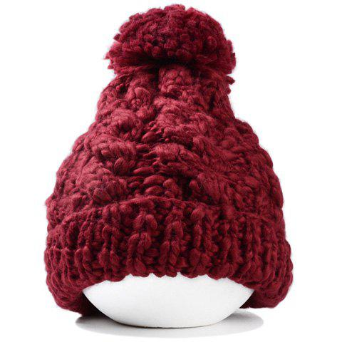 Fashionable Solid Color Knitted Hemp Flowers Beanie For Women - WINE RED