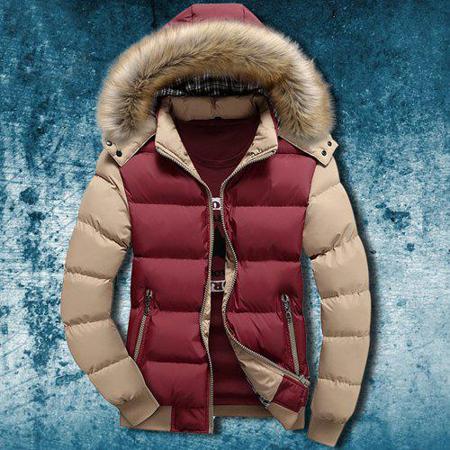 Zipper Pocket Color Splicing Rib Hem Hooded Long Sleeves Men's Thicken Padded Coat - COLORMIX M