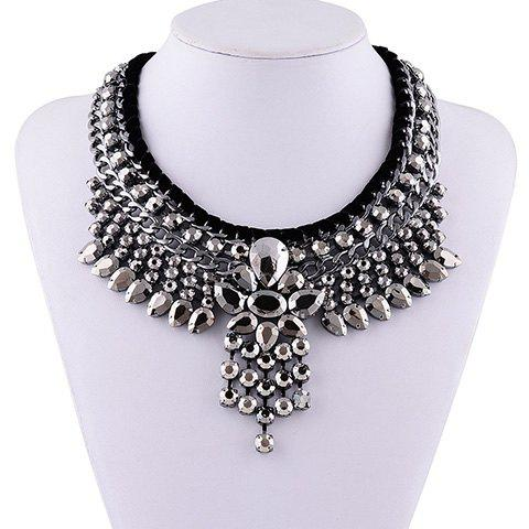 Vintage Rhinestone Faux Crystal Layered Water Drop Hollow Out Necklace For Women - BLACK