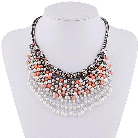 Chic Faux Pearl Geometric Layered Beads Necklace For Women - ORANGE