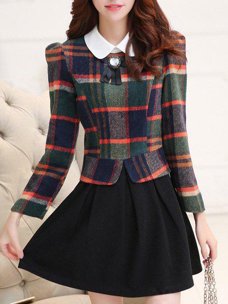 Fashionable Flat Collar Plaid Long Sleeve A-Line Dress For Women