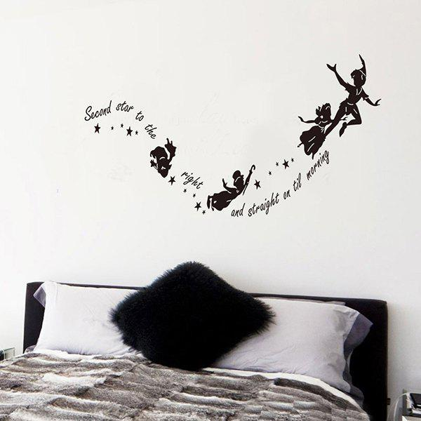 Good Quality Letter Pattern Removeable Wall Sticker - BLACK