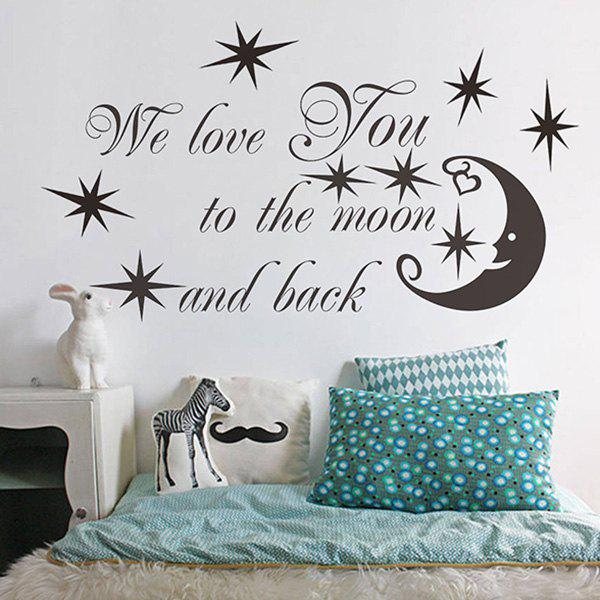 Good Quality Letter Moon Pattern Removeable Decorative Wall Sticker - BLACK