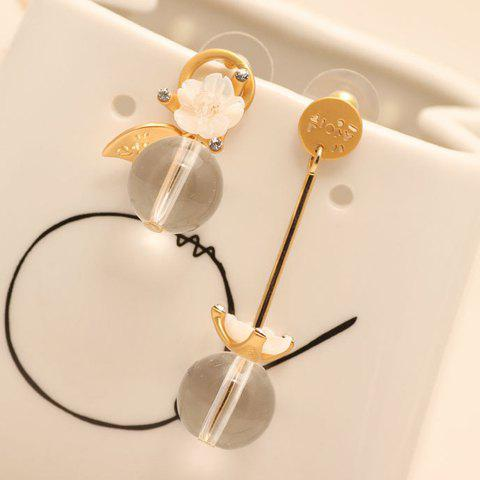Pair of Chic Transparent Bead Floral Irregular Earrings For Women - GOLDEN