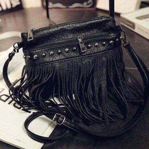 Stylish Rivet and Fringe Design Crossbody Bag For Women - BLACK