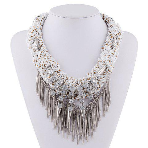 Rhinestone Layered Rivet Chain Fringed Necklace -  WHITE