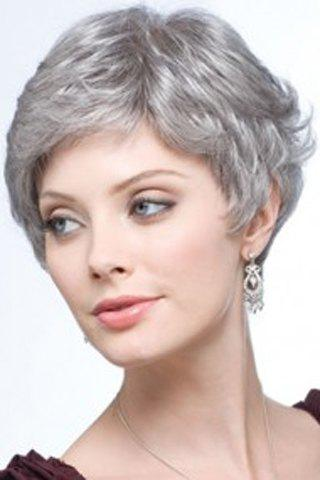 Fluffy Curly Capless Stylish Short Side Bang Elegant Silvery Gray Synthetic Women's Wig - SILVER GRAY