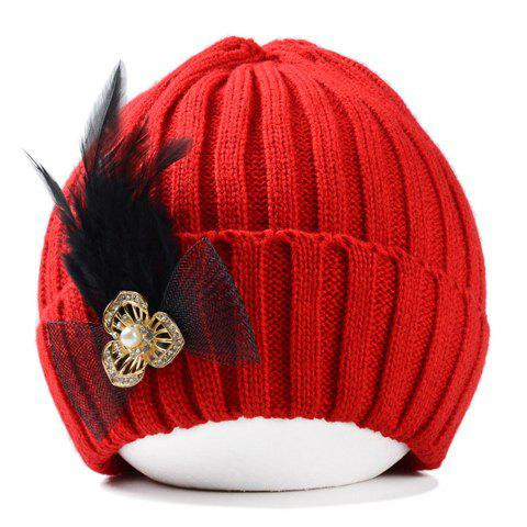 Stylish Bowknot Artificial Feather Embellished Women's Knitted Beanie - RED