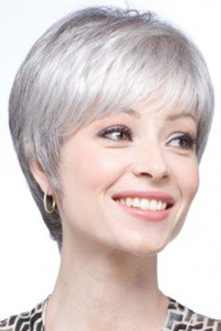 Graceful Short Silvery Gray Vogue Inclined Bang Synthetic Straight Capless Wig For Women - SILVER GRAY