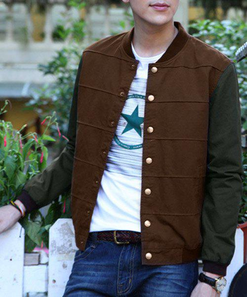 Classic Hit Color Stripes Pattern Rib Spliced Stand Collar Long Sleeves Men's Slimming Jacket - BROWN L