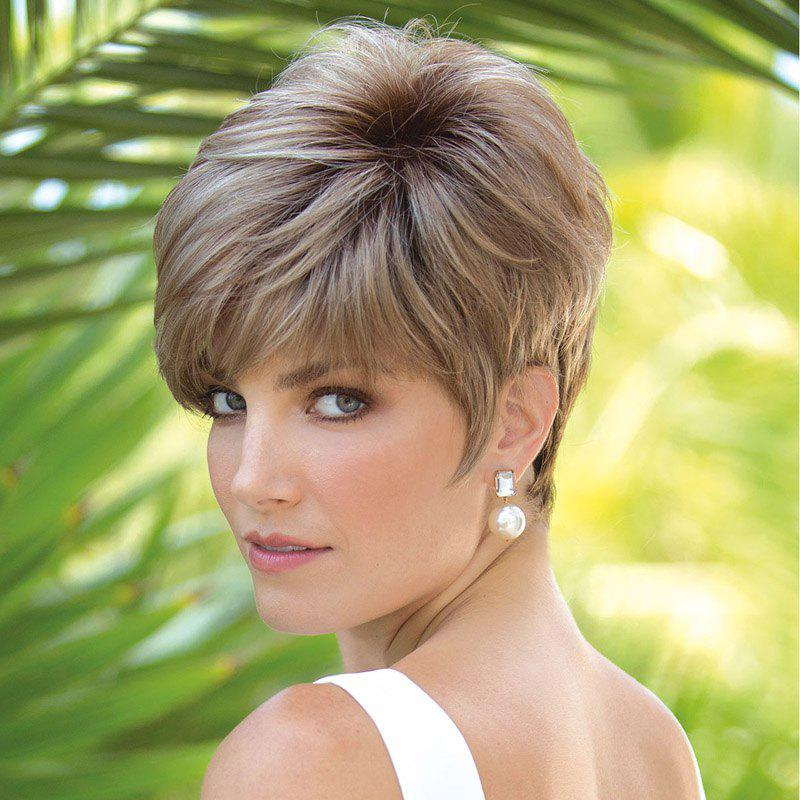 Fluffy Straight Capless Ladylike Brown Mixed Synthetic Fashion Short Women's Wig - BROWN
