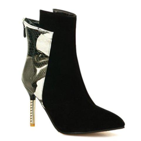 Personalized Splicing and Stiletto Heel Design Women's Short Boots - WHITE/BLACK 39