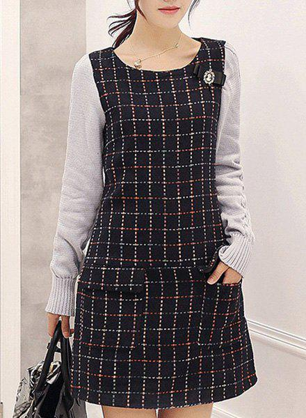 Preppy Style Scoop Neck Long Sleeve Plaid Pocket Design Women's Dress - BLACK 2XL