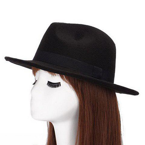 Chic Black Strappy Embellished Women's Felt Jazz Hat - BLACK