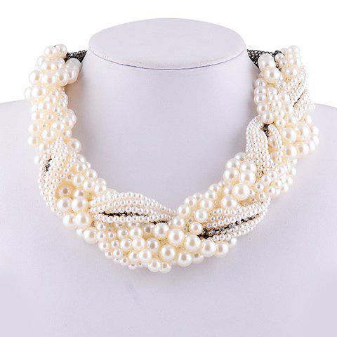 Chic Faux Pearl Rhinestone Claw Chain Necklace For Women - WHITE