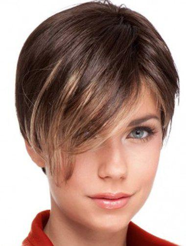 Trendy Side Bang Golden Highlight Stunning Short Straight Women's Synthetic Wig - COLORMIX