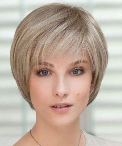 Vogue Straight Side Bang Cute Flax Synthetic Bob Style Short Capless Wig For Women - FLAX