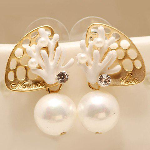 Pair of Delicate Faux Pearl Shell Coral Earrings For Women - GOLDEN