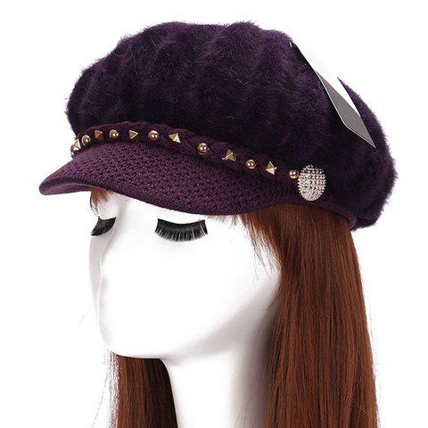 Chic Button and Rivet Embellished Women's Downy Newsboy Hat - DEEP PURPLE