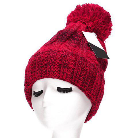 Chic Woolen Yarn Ball Embellished Mix Color Women's Thicken Knitted Beanie - RED