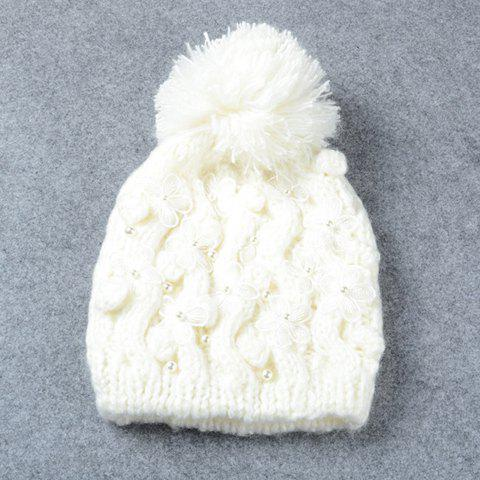 Fashionable Flowers and Faux Pearl Embellished Women's Knitted Beanie - WHITE
