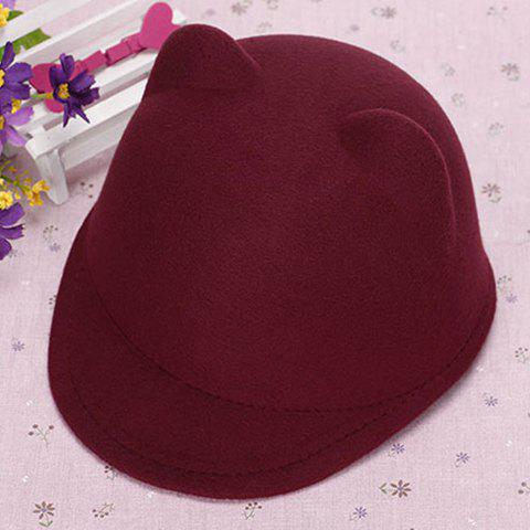 Chic Candy Color Women's Felt Bear Ear Hat - WINE RED