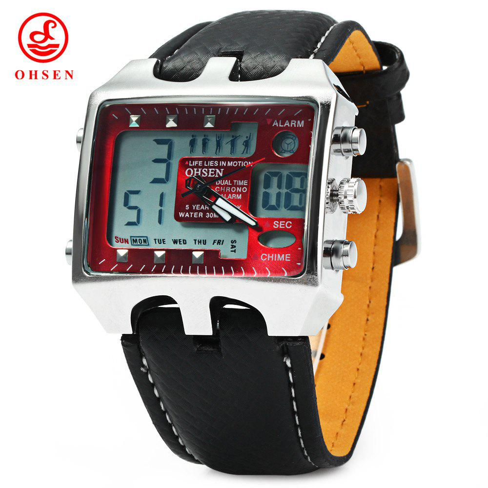 OHSEN AD0930 Men Analog PU Leather Sports Digital Watch Dual Time Display 30M Water Resistant Rectangle Big Dial - RED