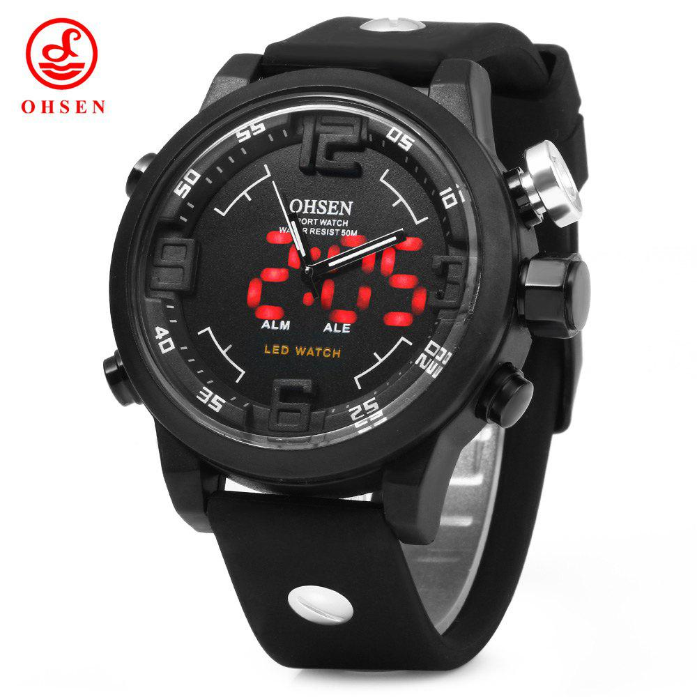 OHSEN AD2820 Men Silicone Sports Quartz Watch Big Dial Double Movement 5ATM Water Resistant - WHITE