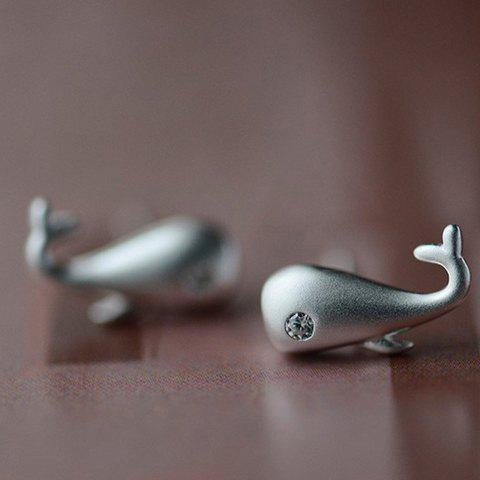 Pair of Delicate Solid Color Rhinestone Whale Shape Earrings For Women - SILVER