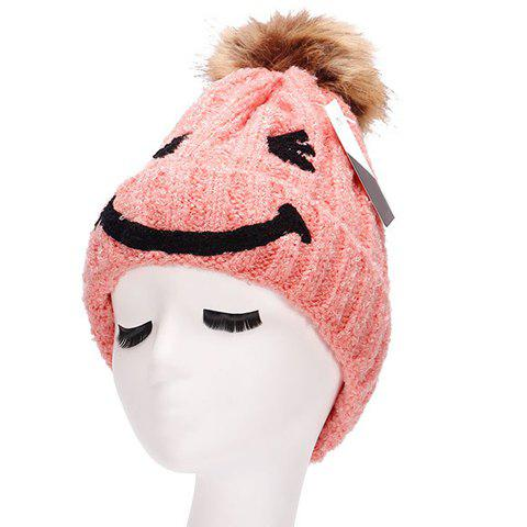 Chic Smiling Face Shape Embellished Knitted Beanie For Women -  LIGHT PINK