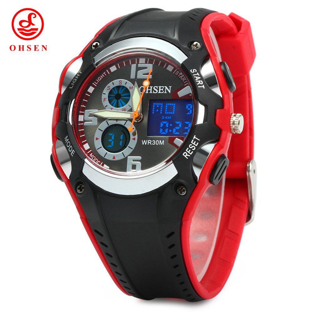 OHSEN AD1309 Dual Time Sports Men Digital Watch with Date Week Alarm Stopwatch Backlight Separate Second Dial - RED