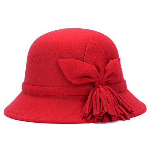 Chic Flower and Tassel Embellished Women's Felt Cloche Hat - RED