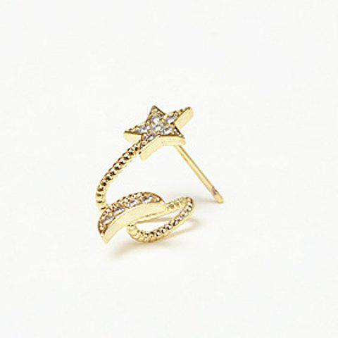 Pair of Chic Rhinestoned Star and Moon Earrings For Women - CHAMPAGNE GOLD