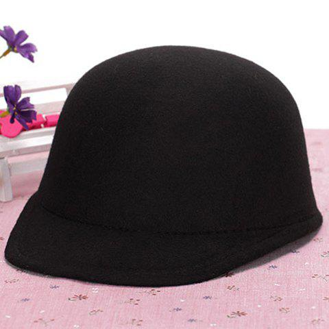 Chic Candy Color Women's Felt Horseman Hat - BLACK