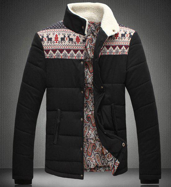 Stand Collar Christmas Print Splicing Design Long Sleeve Men's Cotton-Padded Jacket - BLACK M