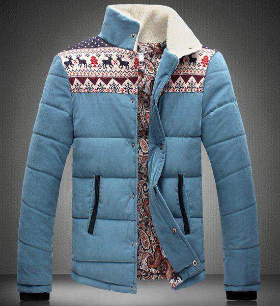 Stand Collar Christmas Print Splicing Design Long Sleeve Men's Cotton-Padded Jacket - BLUE L