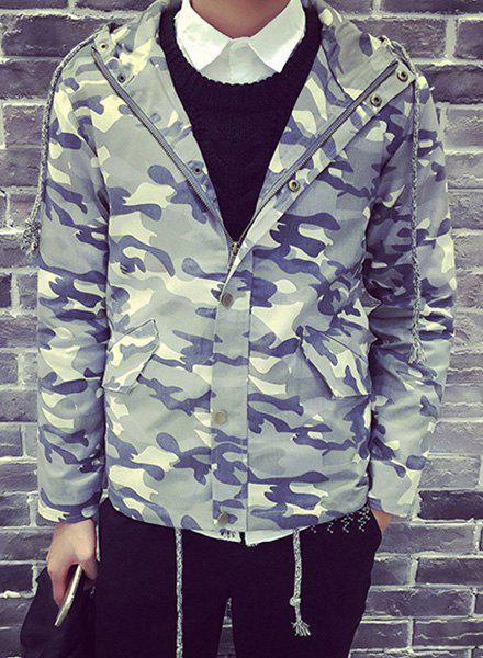 Hooded Flap Pocket Drawstring Hem Long Sleeve Men's Camo Jacket - LIGHT GREEN L