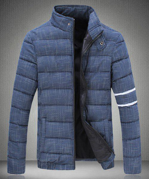 Stripe Design Stand Collar Long Sleeve Plaid Cotton-Padded Men's Jacket - CADETBLUE M