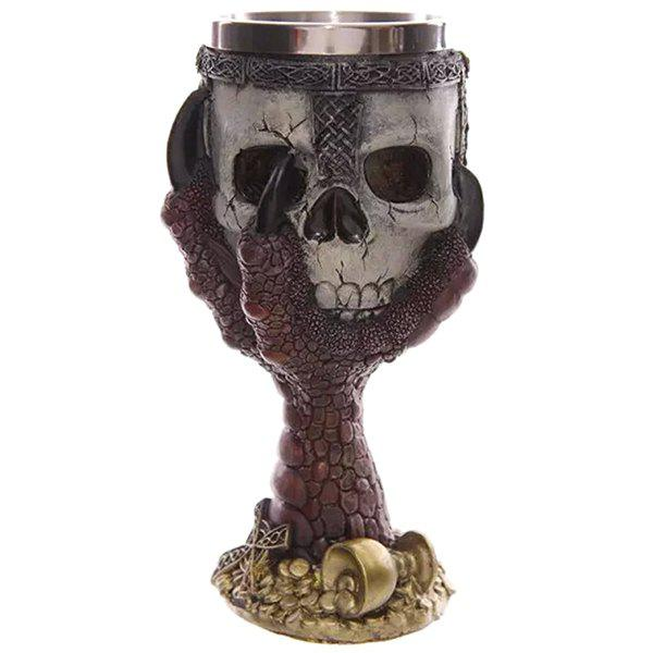 Cool 200ml Goblet Cup Skull Shape Design Stainless Steel Cup - RED